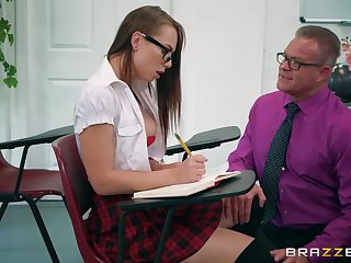 The hot schoolgirl is willing on every side do anything for fix grades
