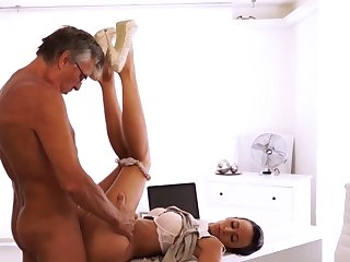 Venerable man small girl Their orgy was elegant and sultry -