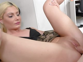 Lovely blonde sister is seduced into pussy stuffing by her bro