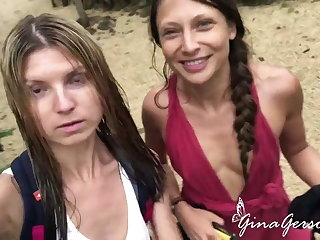Gina Gerson and Talia Mint appreciate sexy vacation time