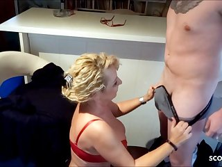 German Mom Surprises Stepson give BJ and swallows his Sperm