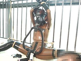 Cute Japanese latex girl, rope bondage and gas mask breathplay