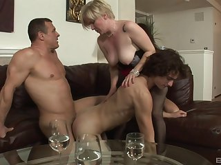 Needy action for a pair of bi-sexual lovers coupled with a mature
