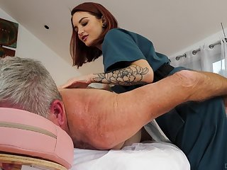Cute masseuse Lola Fae rides on a high older purchaser in cowgirl insincerity