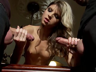 Petite tow-haired Gina Gerson gets a mouthful of cum after crazy threesome sex