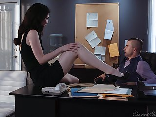 Sex-starved secretary Evelyn Claire spreads legs go on her young boss
