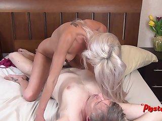 Young Blonde MILF Orgasms Hard While Riding Ancient Cameraman